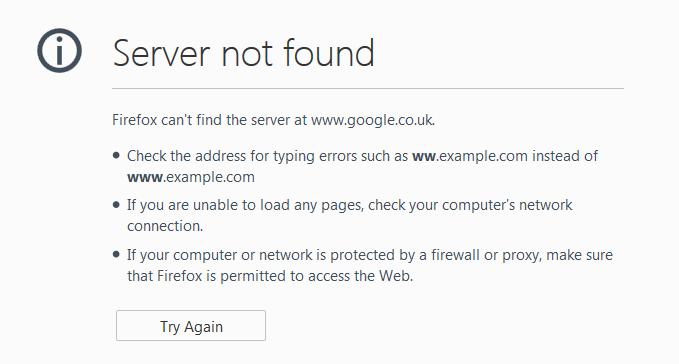 رفع خطای Server Not Found