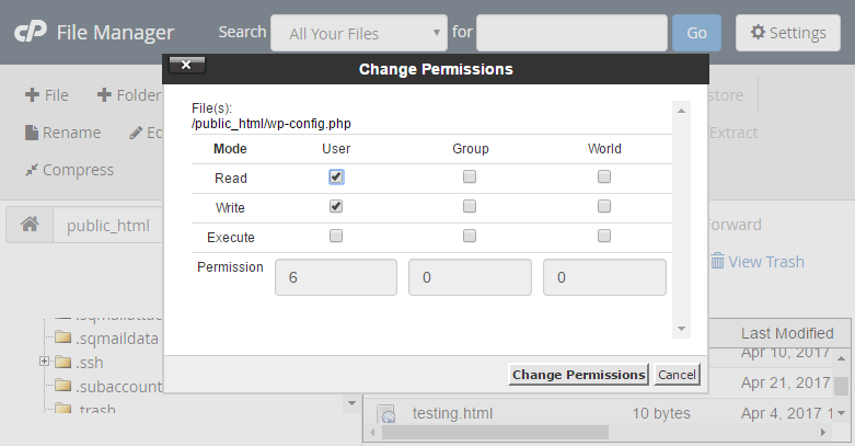 آموزش تغییر سطح دسترسی فایل ها در cPanel
