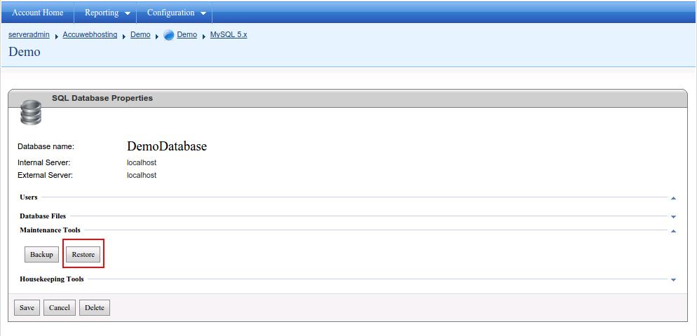 ساخت دیتابیس در کنترل پنل WebsitePanel