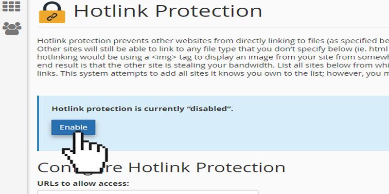 فعالسازیHotlink Protection در سی پنل