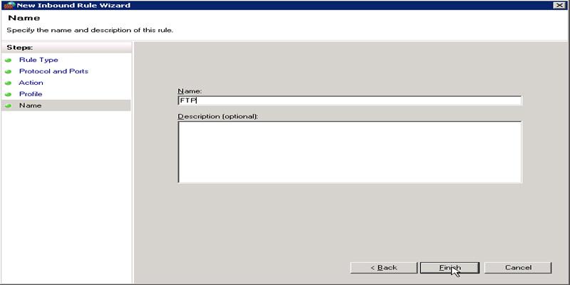 تنظیمات فایروال FTP در ویندوز سرور 2008