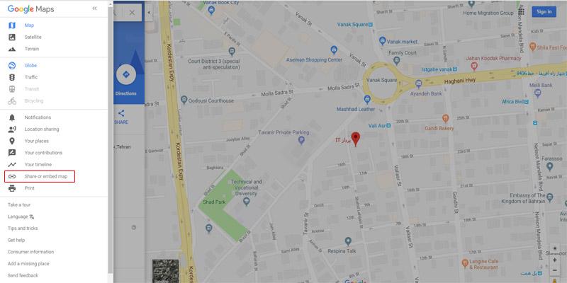 استفاده از نقشه گوگل در وردپرس