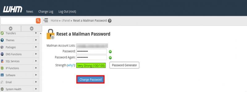 آموزش تغییر رمز Mailman از WHM