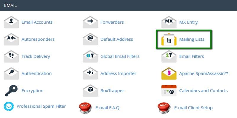 آموزش ساخت Mailing List در سی پنل